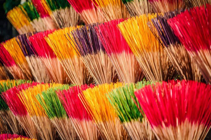 Incense sticks in street market in Vietnam