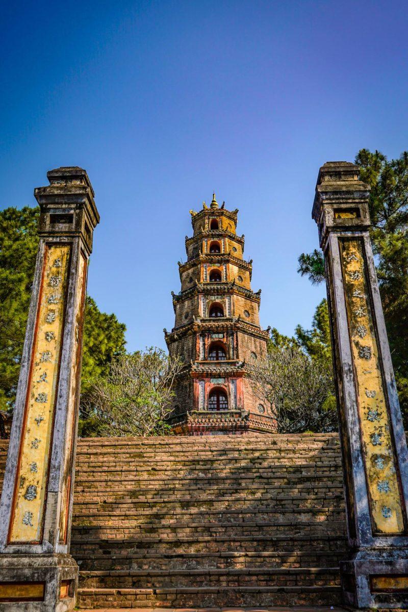 Vietnamese temple between pillars