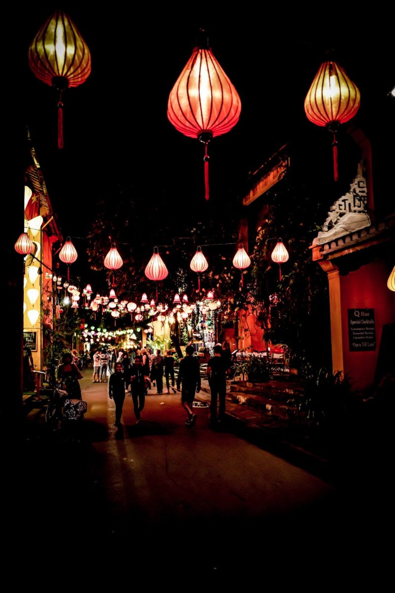 Vietnam night scene Huey with lights